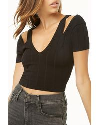 964c5f5779b Forever 21 - Ribbed Open-shoulder Crop Top - Lyst