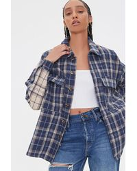 Forever 21 Plaid Flannel Shacket - Blue