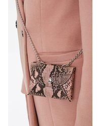 Forever 21 Faux Snakeskin Coin Purse - Pink