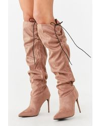 Forever 21 Ruched Knee-high Stiletto Boots - Brown