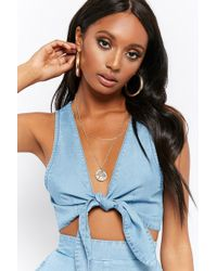 Forever 21 - Knotted Chambray Crop Top - Lyst