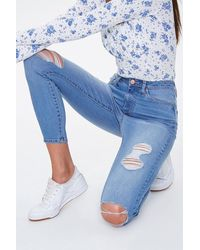 Forever 21 Distressed Super High-rise Jeans In Medium Denim, Size 29 - Blue