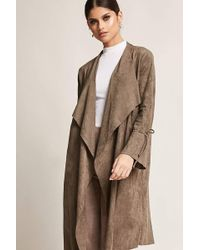 Forever 21 - Faux Suede Open-front Cardigan - Lyst
