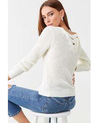 Forever 21 Ribbed Crisscross-back Sweater - White
