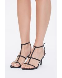 Forever 21 Faux Leather Caged Heels - Black