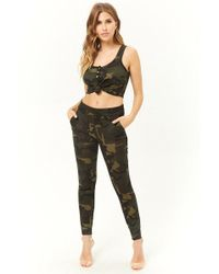 Forever 21 - Camo Print Crop Top & Trousers Set - Lyst