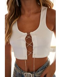 Forever 21 Rhinestone Lace-up Crop Top , Ivory - White