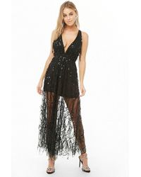73a4d667f6b Lyst - Forever 21 Embroidered Mesh Maxi Dress in Black