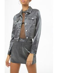 Forever 21 - Metallic Cropped Jacket - Lyst