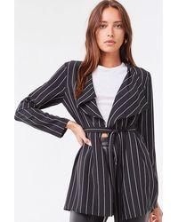 Forever 21 Pinstriped Self-tie Jacket - Black