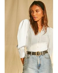 Forever 21 Buttoned Puff-sleeve Top - White
