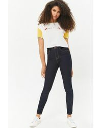 b437d263eb6 Lyst - Forever 21 Flare High-waisted Jeans in Blue