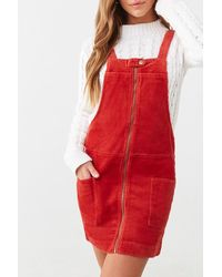 Forever 21 Corduroy Overall Mini Dress - Red