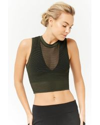Forever 21 - Active Mesh Crop Top - Lyst