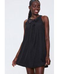 Forever 21 Plaid Bow Mini Dress - Black