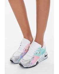 Forever 21 Glitter-toe Patternblock Sneakers In Fuchsia, Size 10 - Multicolor