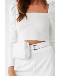Forever 21 Faux Leather Quilted Belt Bag , White