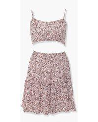Forever 21 Floral Cropped Cami & Skirt Set - Pink