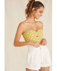 Forever 21 Floral Tube Bodysuit - Yellow