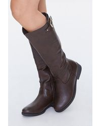 Forever 21 Buckled Knee-high Boots - Brown
