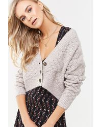 Forever 21 - Marled Knit Cardigan , Taupe - Lyst