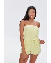 Forever 21 Terry Cloth Strapless Romper - Yellow