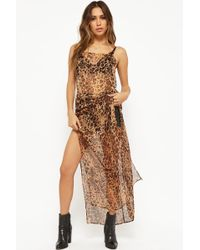 Forever 21 - Sheer Leopard Print Cami Dress - Lyst