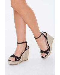 Forever 21 Strappy Knotted Espadrille Wedges - Black
