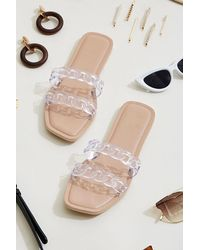 Forever 21 Clear Chain-strap Sandals - Natural