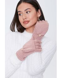Forever 21 Convertible Knit Gloves In Blush - Pink