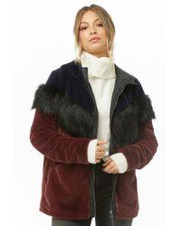 f78631f1d Women's Noisy May Colorblock Faux Fur Jacket - Multicolour