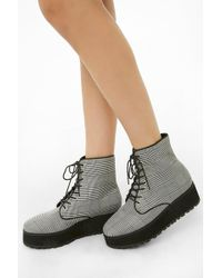 edb075b413b Forever 21 Standout Canvas Booties in White - Lyst