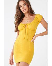 Forever 21 - Shirred Mini Dress , Mustard - Lyst