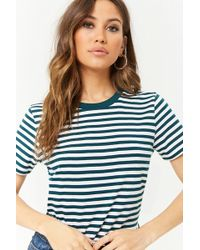 Forever 21 Boxy Striped Tee - Blue