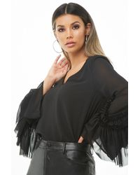Forever 21 Ruffle-trim Bell-sleeve Top , Black