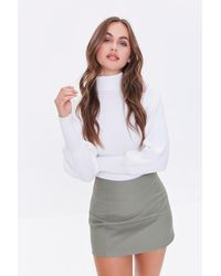 Forever 21 Faux Leather Mini Skirt - Green