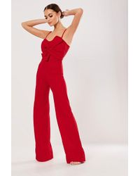 Missguided - Bow Jumpsuit At , Red - Lyst