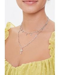 Forever 21 - Cross Pendant Necklace Set - Lyst