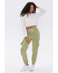 Forever 21 French Terry Cargo Sweatpants - Green
