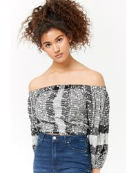 Forever 21 - Floral Embroidered Glen Plaid Crop Top - Lyst