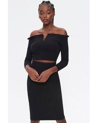 Forever 21 Off-the-shoulder Top & Skirt Set - Black