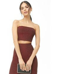 Forever 21 Glitter Knit Tube Top & Skirt Set , Red