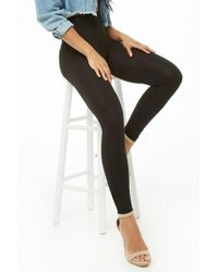 3fa620695ba2ff Forever 21 Faux Leather Paneled Workout Leggings in Black - Lyst