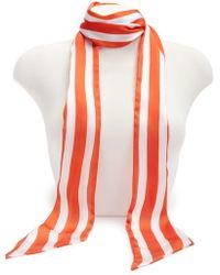 Forever 21 - Bold Striped Necktie Scarf , Orange/white - Lyst
