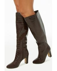 Forever 21 - Women's Faux Croc Over-the-knee Boots - Lyst