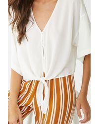 5c21d7fc75611 Forever 21 Self-tie Collared Blouse in White - Lyst
