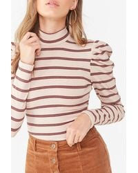 Forever 21 - Striped Turtleneck Top , Taupe/burgundy - Lyst