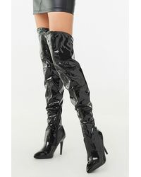Forever 21 Faux Patent Leather Stiletto Boots - Black