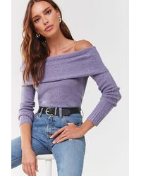 Forever 21 Foldover Off-the-shoulder Sweater - Purple