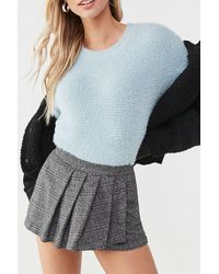 Forever 21 Glen Plaid Mini Skort , Black/cream